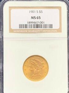 1901 s Half Eagle $5 NGC MS65