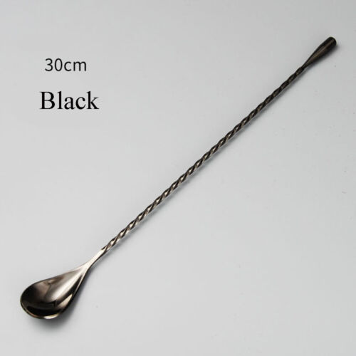 Stainless Steel Mixing Cocktail Spoon Spiral Pattern Bar Teadrop Spoon Stir UK