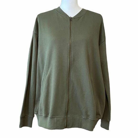 NWT ASOS Women's Army Green Jersey Bomber Full Zip Jacket Sz 8 Drop Sleeves