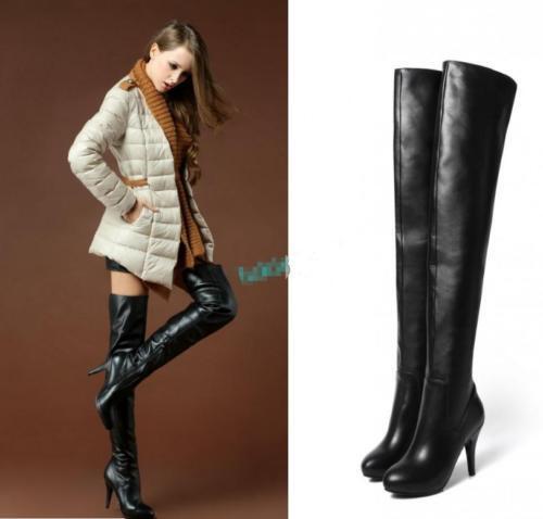 Zapatos de Cuero por mujeres Genuino Negro Cremallera Lateral por Cuero encima de la rodilla muslo botas altas nuevas 097b3e