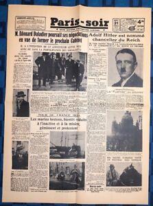 La-Une-Du-Journal-Paris-soir-Mardi-31-Janvier-1933-Hitler-Chancelier-Du-Reich