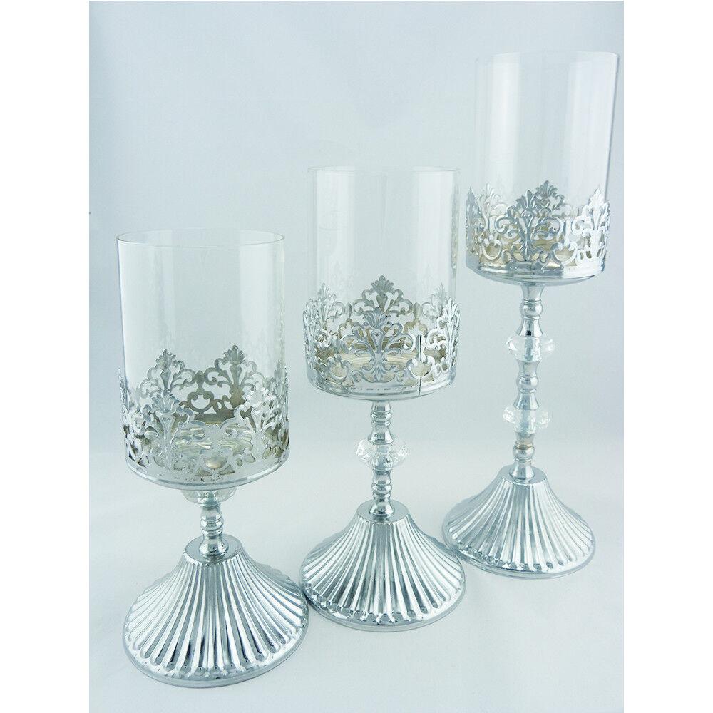 3er Windlicht Rohr Metall Motiv Laterne Deko Kerzenhalter Leuchte