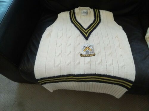 Two Vintage Cricket Jumpers Allez  one sleeveless the with sleeves size 44.