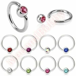 043d5e449ea Details about 316L Surgical Steel Gem Captive Bead Ring Hoop Body Piercing  Jewellery