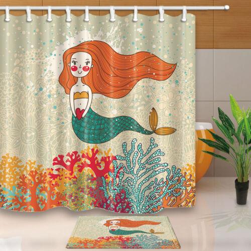 Cute Mermaid in Corals Bathroom Decor Fabric Shower Curtain Liner Bath Mat Set