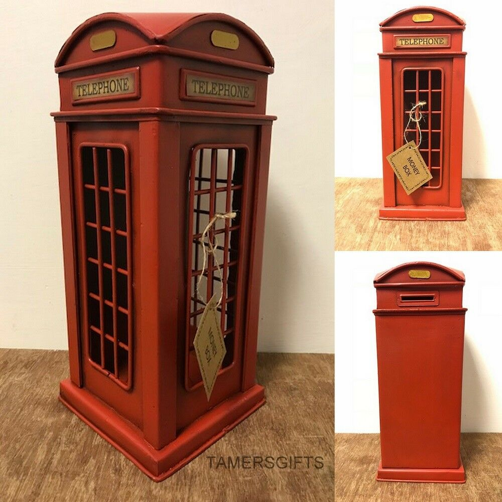 Vintage Retro British Telephone Model Money Box Tin Plate Ornament Gift