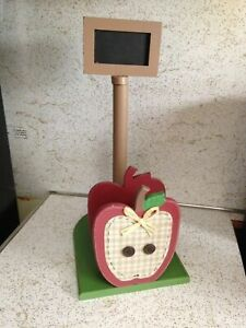 Country-Red-Apple-Wood-Paper-Towel-Napkin-Holder-Chalk-Board-Kitchen-Decor