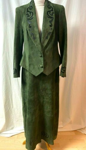Edwardian Green Suede Equestrian Riding Habit Skir