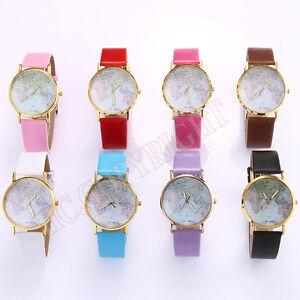 Women Girl World Map Dial Design PU Leather Watch Fashion Wrist ...