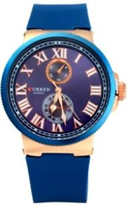 Curren-show-8160-Sub-dials-Watch-with-Rubber-Band-for-Men-Brown-Blue-Choose-any