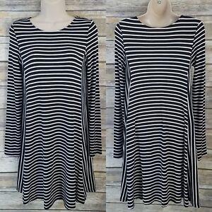 Old-Navy-Size-XS-Swing-Dress-Black-White-Stripe-Rayon-Blend-Long-Sleeve-A-line
