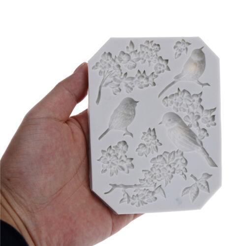 Bird and Flower Silicone Fondant Mold Cake Decor Tools Chocolate Gumpaste MolL!Y