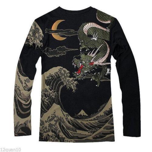 Mens Japanese Pattern T-Shirt Long Sleeve Embroidery Sukajan Tee Ukiyo-e Dragon@