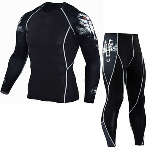 Men Compression Base Layer Tights T-Shirt + Pants Fitness Running Sports Cycling