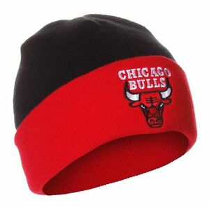 Image is loading Chicago-Bulls-Black-On-Red-Cuffed-Knit-Beanie- 66c4f60a935