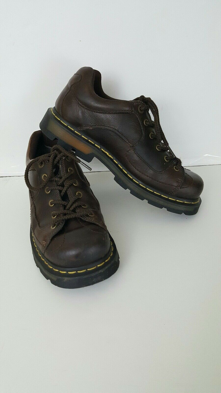 Dr. Martens Boots Docs Brown Leather Work Casual Size 9 Lace Up 9A90 Ships Free