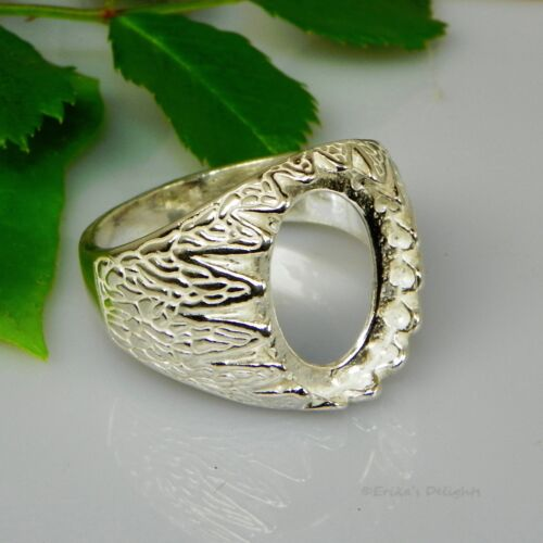 (10x8 - 18x13) Oval Mens Donello Cabochon (Cab) Sterling Silver Ring Setting