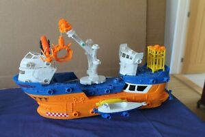 """Large hand made model """"salvage ship"""" with crane on working wheels"""