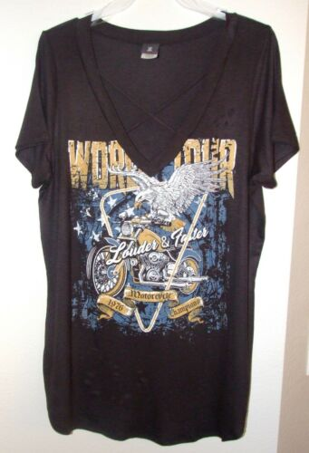 Womens Black Louder /& Faster Motorcycle T-Shirt Plus Sizes 1X,2X,3X By Libian