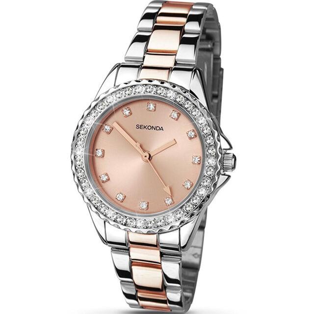 Sekonda Temptations Stone Set Rose Gold Dial 2 Tone Bracelet Ladies Watch 4254