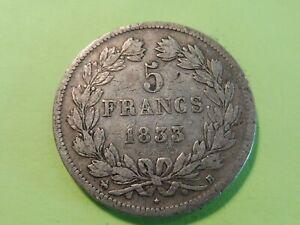 ANCIENNE-MONNAIE-ARGENT-ECU-5-FRANCS-LOUIS-PHILIPPE-1833-B-TB-5b