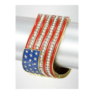 Art-Deco-Patriotic-Hinged-Bracelet-American-USA-Flag-Red-White-amp-Blue-Enamel