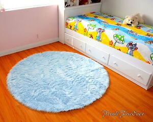Details About Baby Blue Area Rug 5 Faux Fur Gy Throw Rugs Cute Room Decor Furry