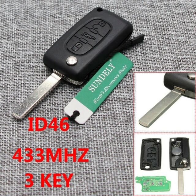 Hot 3 Buttons Remote Locking Key Fob Case 433MHZ ID46 Chip for Peugeot Citroen