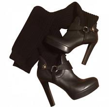 AUTH Gucci Lola High-Heel Platform Boot Leather, Wool in Black sz.EU38, US 7.5-8