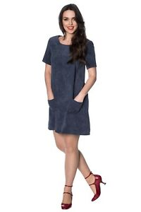 Women's Navy Katie Cord Vintage Retro Corduroy Midi Dress BANNED Apparel