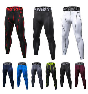 Men S Compression Running Legging Athletic Basketball Gym Spandex Pants Cool Dry Ebay
