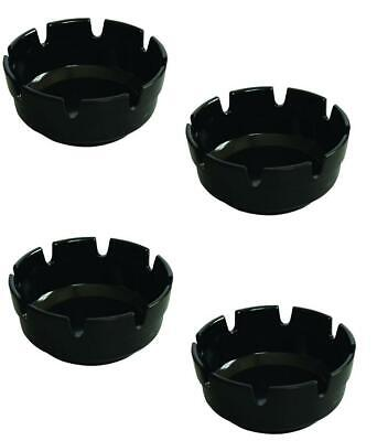 """BLACK MELAMINE WINDPROOF ASHTRAY WITH LID 5 3//4/""""  PACK OF 6"""