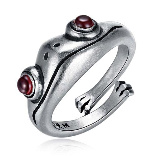 Frog Retro Creative Animal Unisex Red Garnet Frog Open Adjustable Rings New`