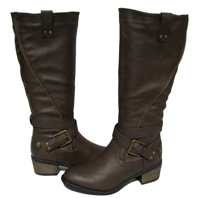 New Women's Motorcycle  Riding BOOTS Brown Winter Snow shoe Ladies size 6