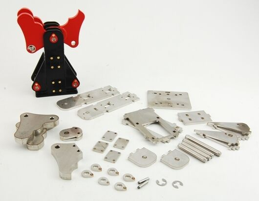 Kit for RC excavator of a demolition grab, stainless steel plate for hydraulics