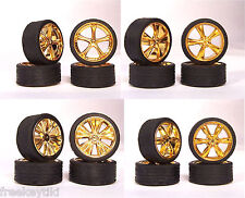 Hoppin Hydros 1/24 1/25 scale Gold SLIM 20s Wheels Rims & Tires 4 Sets Model Car