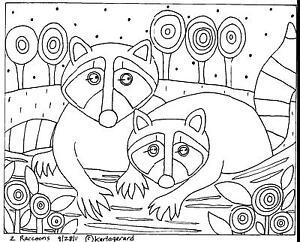 2-Raccoons-RUG-HOOKING-CRAFT-PAPER-PATTERN-Folk-Art-Abstract-Karla-Gerard