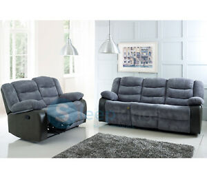 Details about Rio Cord & Leather Recliner Sofa Set 3+2 Grey/Black Set  Footstool Living Room