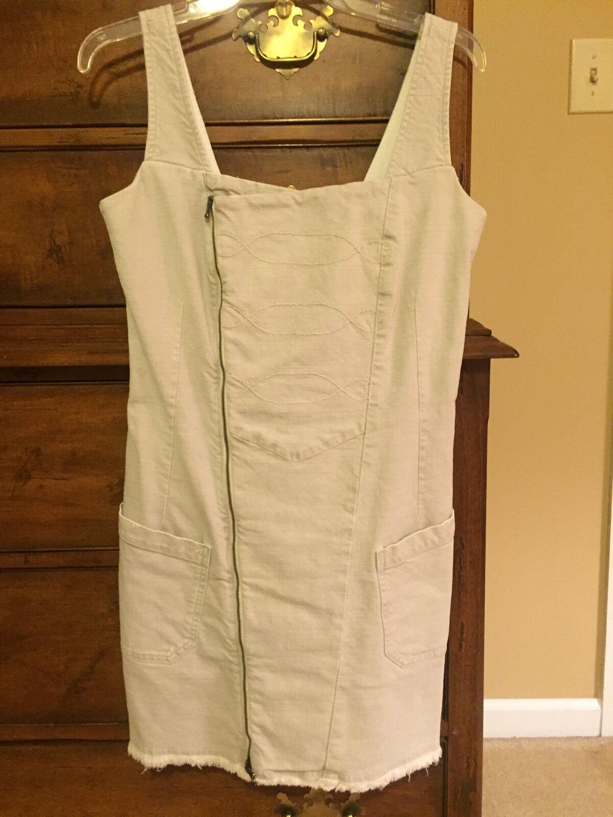 Diesel Women's Dress Medium Oatmeal color Knee Length Diagonal Zip