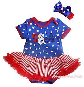 Star bodysuit red white striped girls baby dress outfit nb 18m ebay