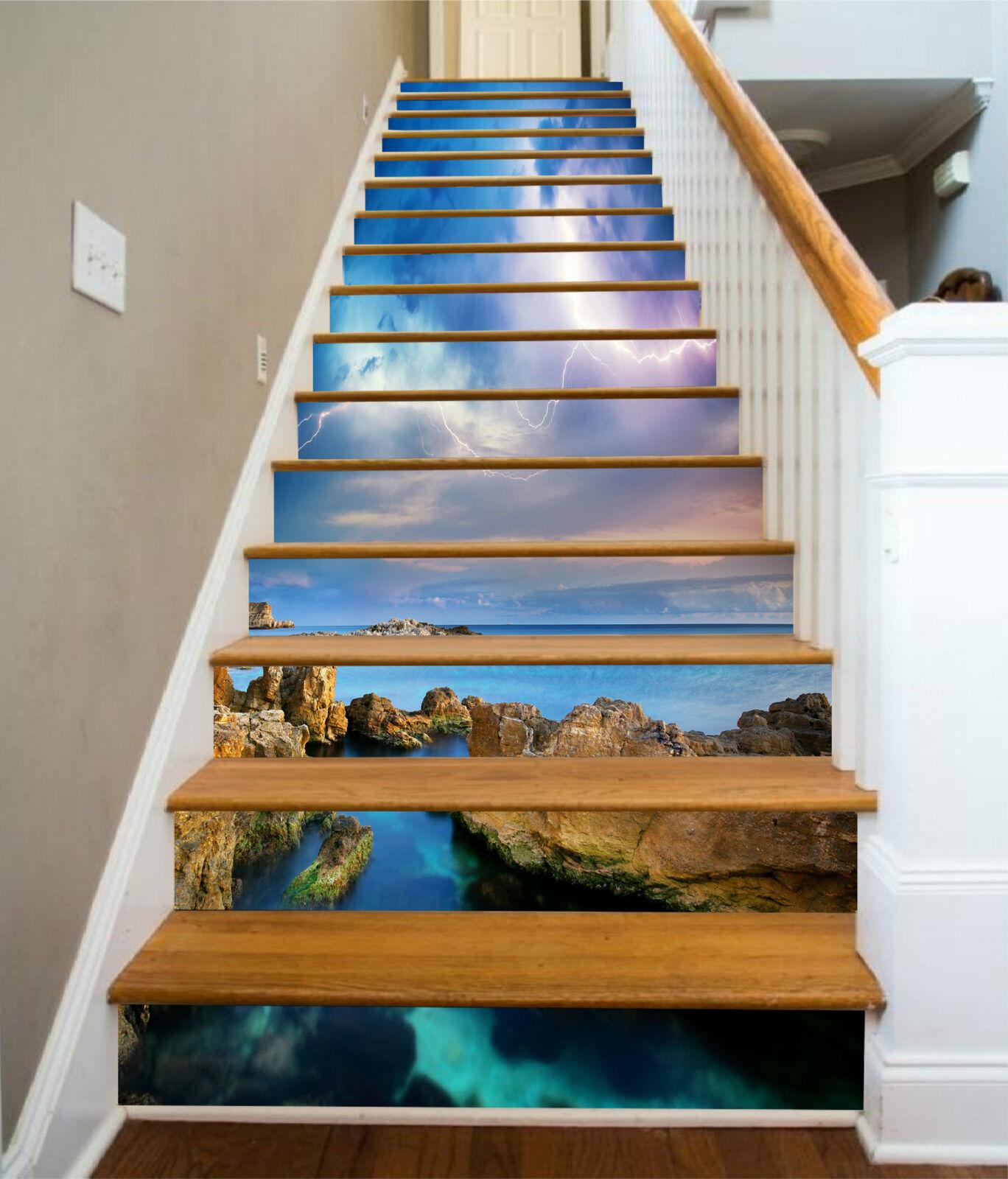 3D Ksten Blitz 317 Stair Risers Dekoration Fototapete Vinyl Aufkleber Tapete DE