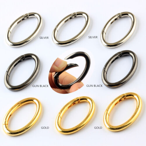 Oval Shape Spring Push Gate Snap Handbag Clip Clasps Key Holder Carabiners 1-100