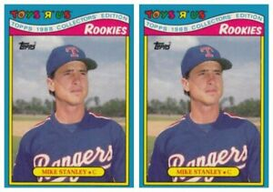 (2) 1988 Topps Toys R' Us Rookies Baseball 29 Mike Stanley Lot Texas Rangers