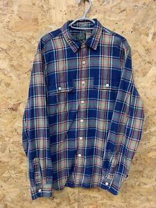 Vintage-J-Crew-Check-Flannel-Long-Sleeve-Shirt-Red-Blue-Size-Medium-M