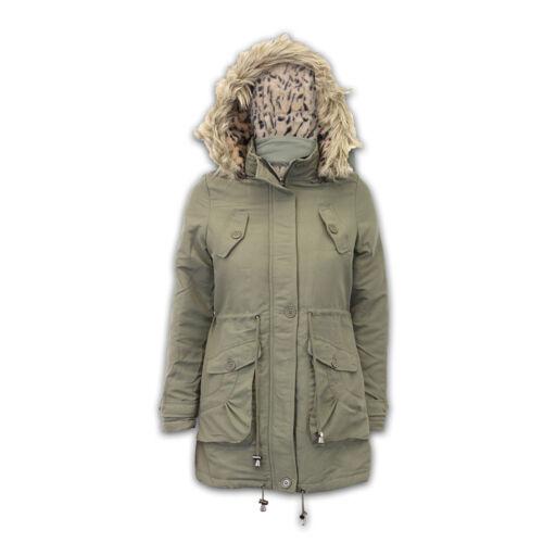 Donna Giacca Brave Soul Cappotto Parka Da Donna Invernale con Cappuccio Militare Pelliccia Imbottito Nuovo