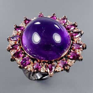 Amethyst-Ring-Silver-925-Sterling-Vintage-SET26ct-Size-9-R130645