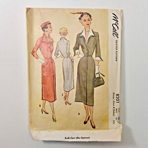 Vintage-50s-McCalls-Sewing-Pattern-8201-Day-Dress-and-Dickey-Size-14-Bust-32