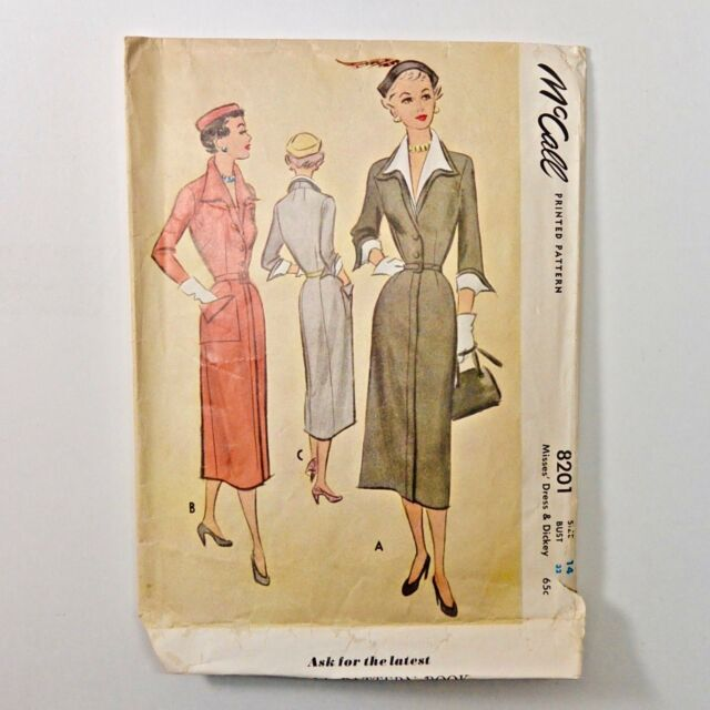 Vintage 50s McCalls Sewing Pattern 8201 Day Dress and Dickey Size 14 Bust 32