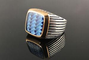 Handmade-925-Sterling-Silver-Enamelled-Carbon-Fiber-Men-039-s-Ring-US-Seller-1K6C