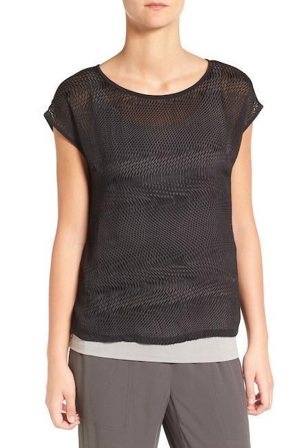 NWT Eileen Fisher XL schwarz Wavy Burnout Cap Sleeve Top